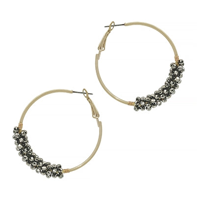 The Crystal Wrap Earring - Hematite