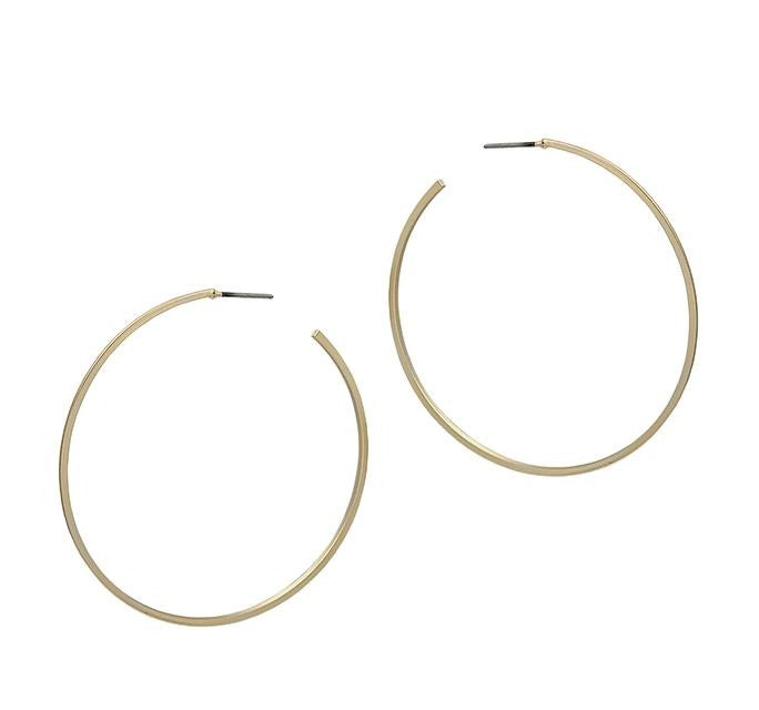 Large Sat-thin Hoop - Gold