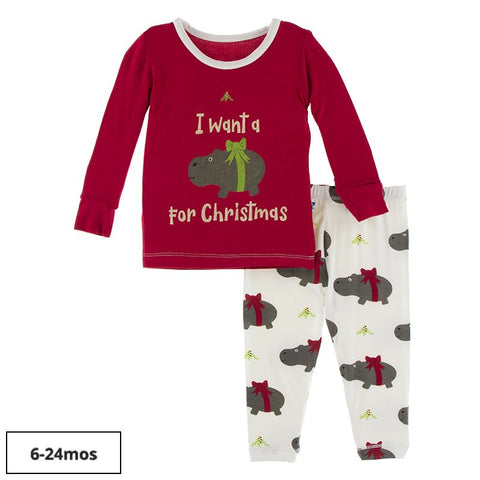 L/S Pajama Set - Natural Christmas Hippo