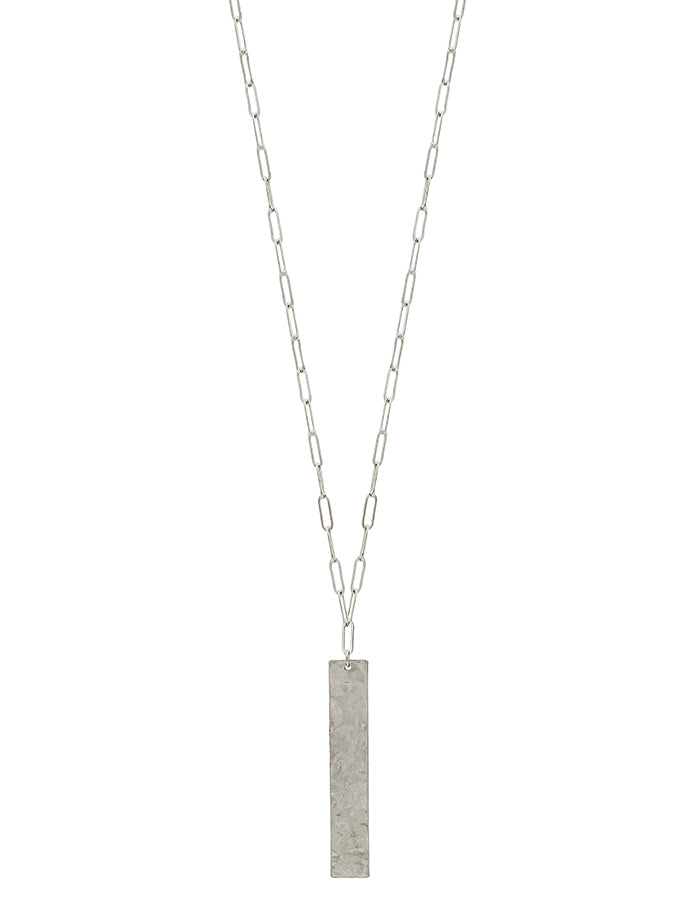 The Hammered Matte Necklace - Silver