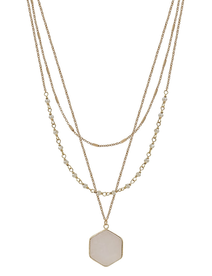 Layered Hexagon Necklace - Natural