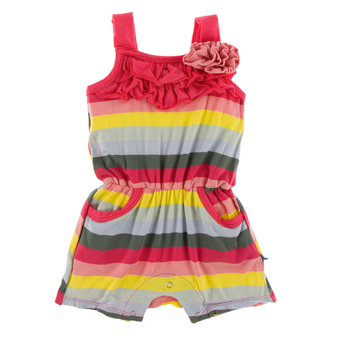 Print Flower Romper - Biology Stripe