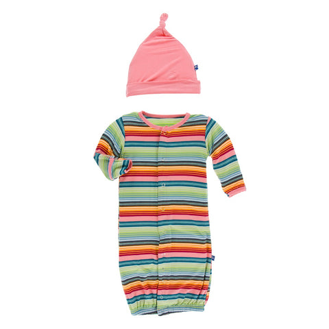 Converter Gown & Knot Hat - Cancun Strawberry Stripe -D