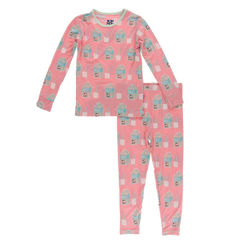 L/S PJ Set - Strawberry Milk