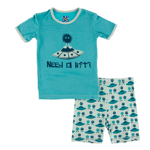 S/S PJ Set - Aloe Aliens with Flying Saucers