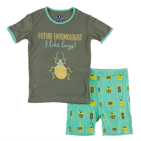 Short Sleeve PJ Set - Glass Beetles