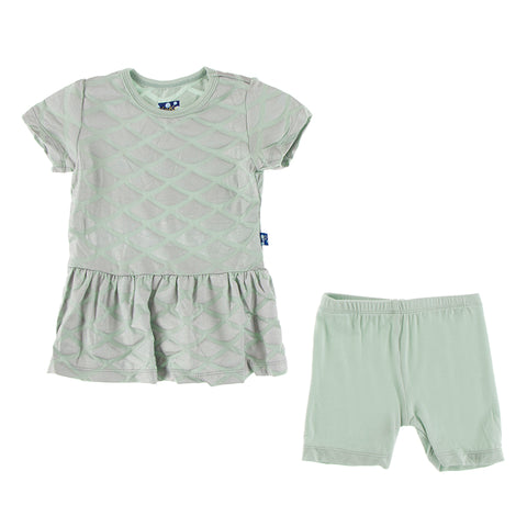 Short Sleeve Playtime Outfit - Iridescent Mermaid Scales