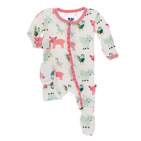 Print Ruffle Zip Footie - Natural Farm Animals