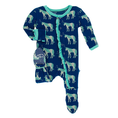 Ruffle Print Zip Footie - Flag Blue Unicorn