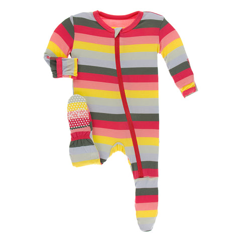 Print Zip Footie - Biology Stripe