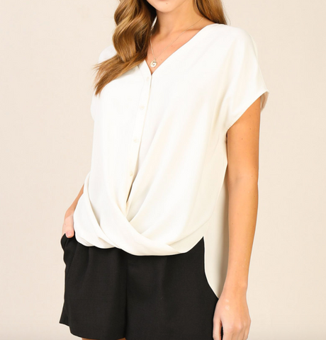 The Twisted Work Top - Ivory