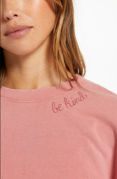 The Lia Washed Pullover - Dusty Rose