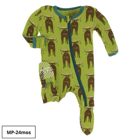 Print Zip Footie - Meadow Bad Moose