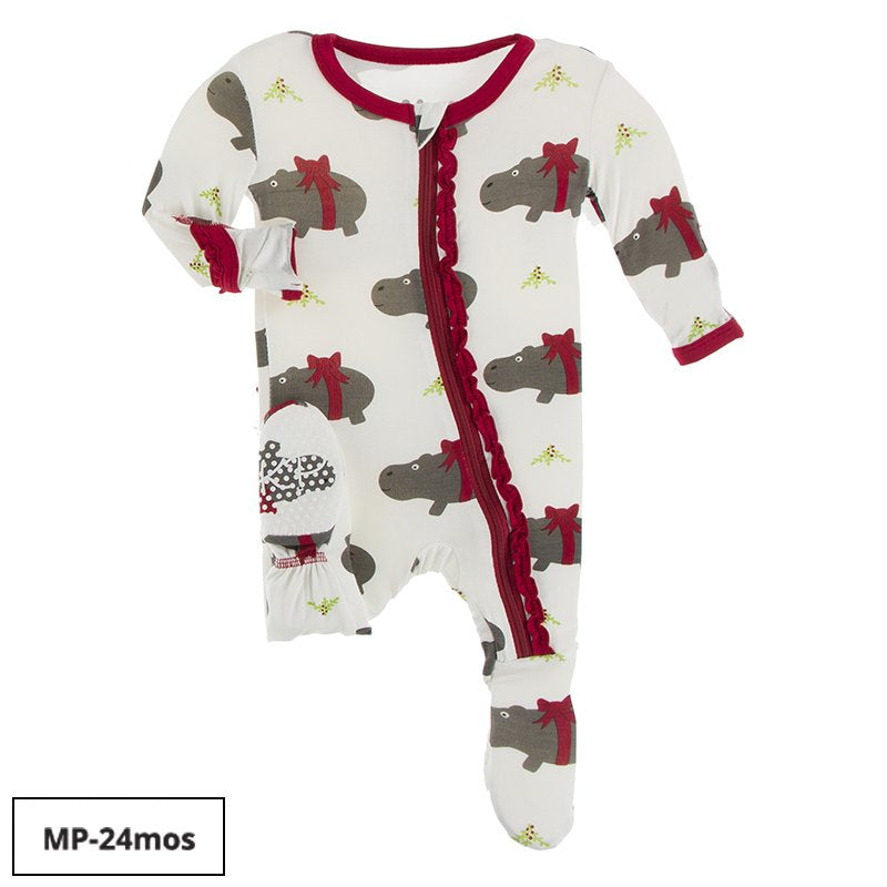 Print Ruffle Zip Footie - Natural Christmas Hippo