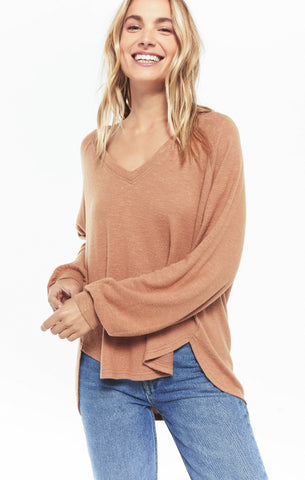 Plira Slub Sweater Top - Salted Carmel