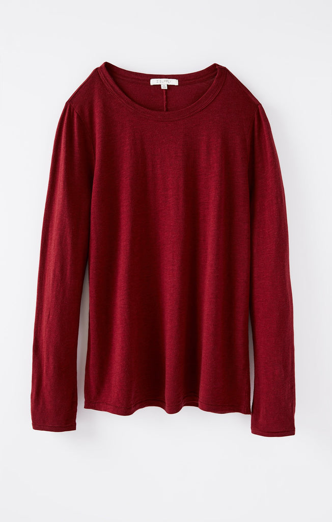 Everyday Brushed L/S Top - Cabernet