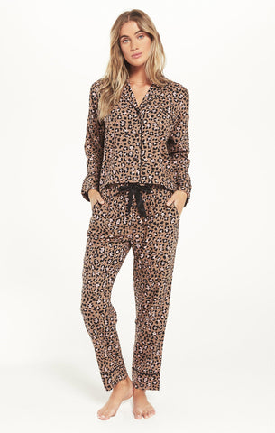 Dream State Leopard Pajama Set - Toast