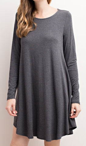 The Pocket Layer Dress - Charcoal