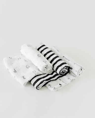 Cotton Muslin Swaddle 3 Pack - Black & White -W