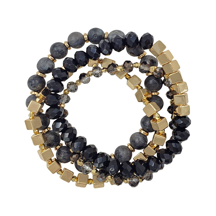 Black & Gold Stretch Bracelet