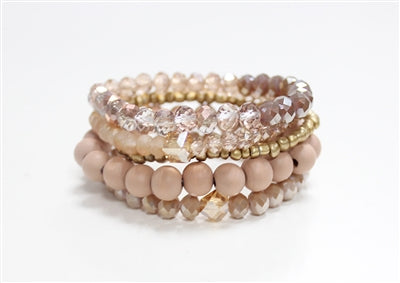 Stack It Bracelet - Cream & Gold