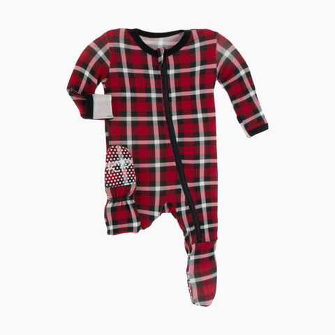 Print Zip Footie - Crimson Holiday Plaid