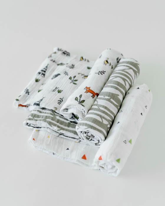 Cotton Muslin Swaddle 3 Pack - Forest Friends - Dew