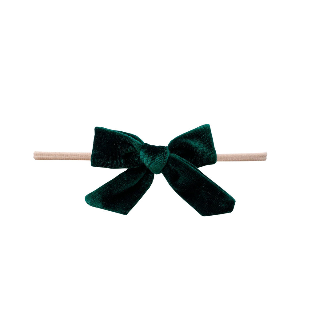 Velvet Bow Skinny - Blush/Forest Green