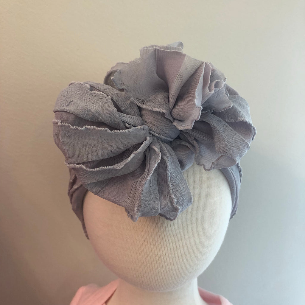 Ruffle Bow Headband - Sterling