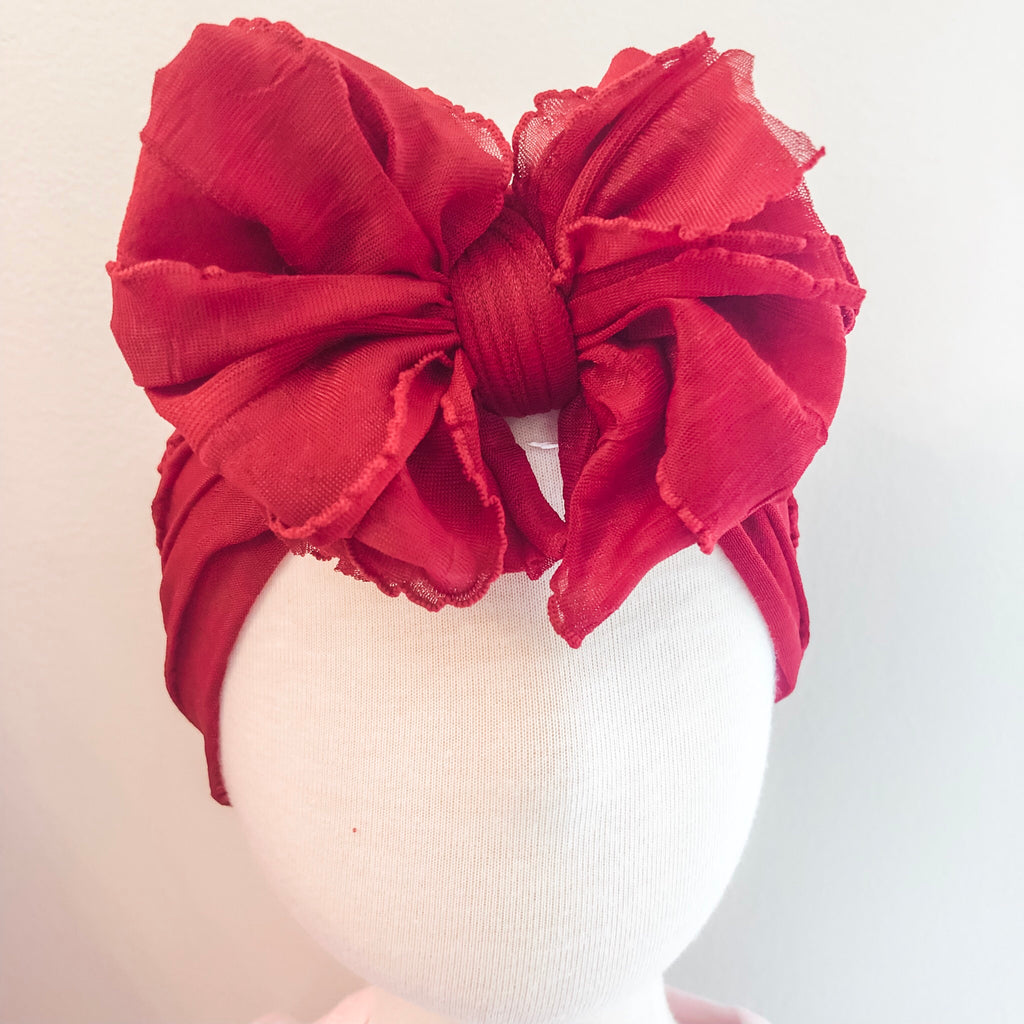Ruffle Bow Headband - Red