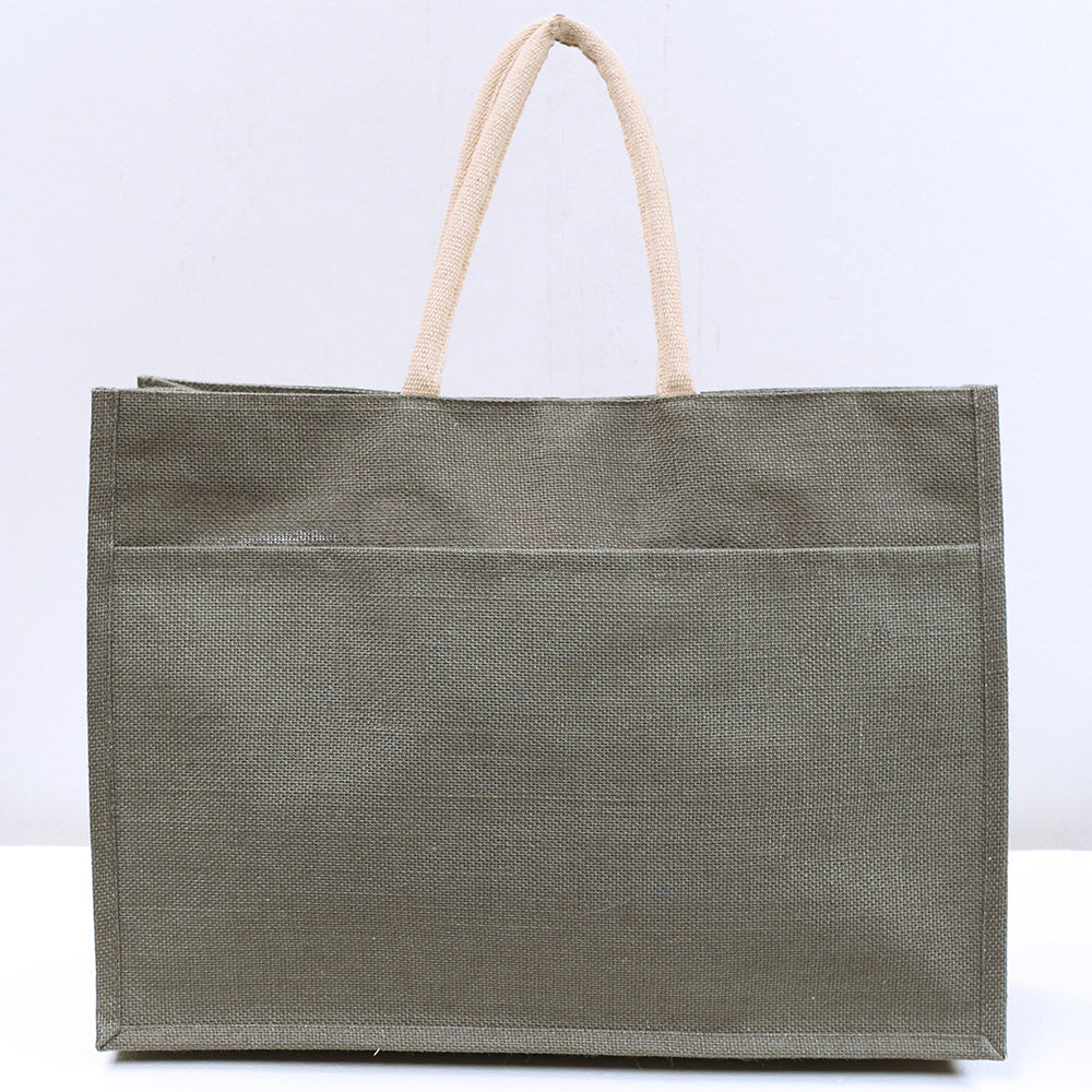 The Jute Pocket Tote - Olive