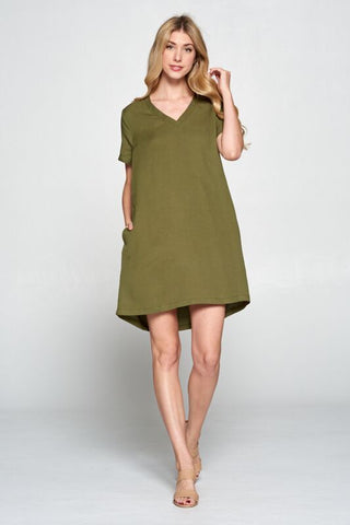 The Linen Shift Dress - Olive