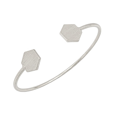 The Hexagon Cuff Bracelet - Silver