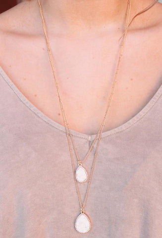 Thalia White Druzy Necklace