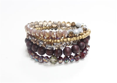 Stack It Bracelet - Maroon & Gold