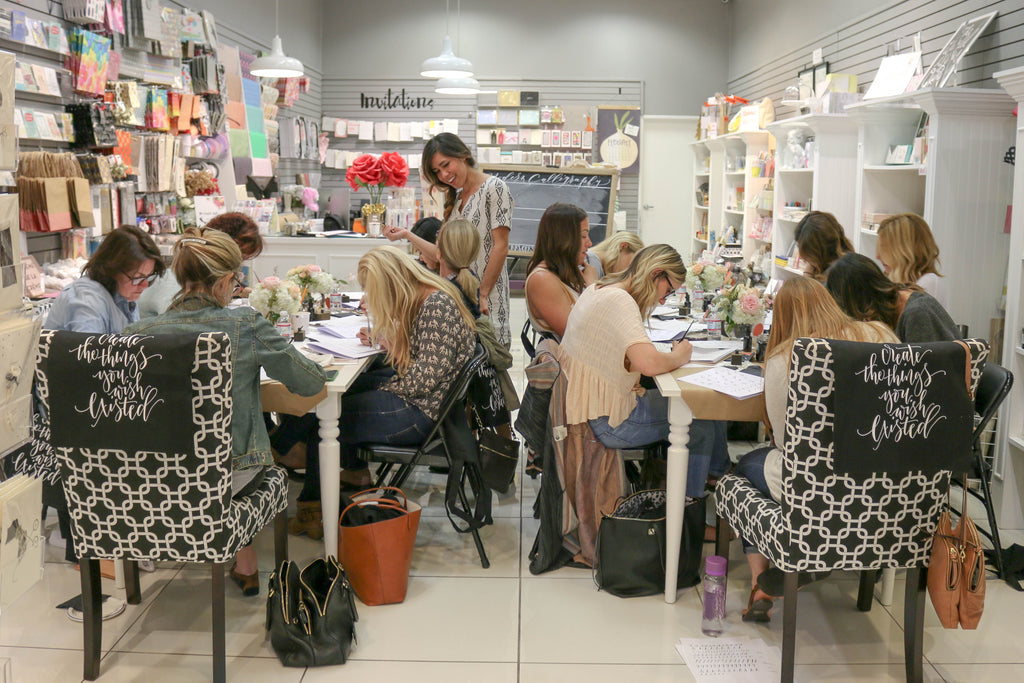 Modern Calligraphy Workshop at Pom Paperie in Los Angeles, CA