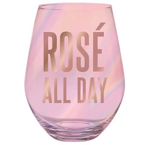 Jumbo Stemless Wine Glass - Rosé All Day