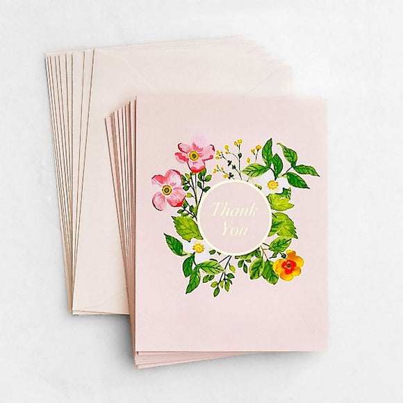 Blush Botanical Thank You Cards, Set of 10