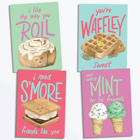 Sweet Foods Valentine Cards, Set of 28