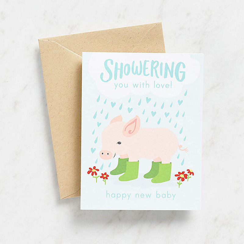 Shower with Love Piglet Card