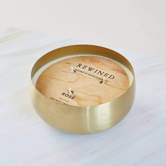 Rewined Rosè Large Gold Bowl Candle