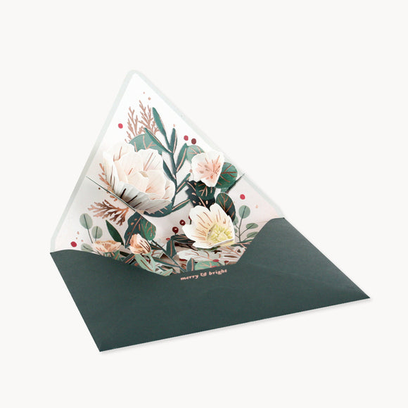 Winter Floral Envelope Pop-Up Card