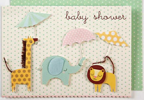 Animals with Umbrellas Baby Shower Card