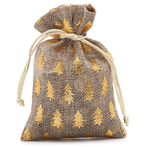 Gold Christmas Tree Burlap Gift Bag