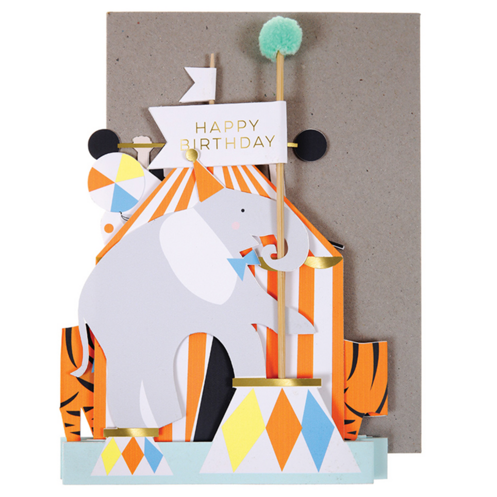 Circus Concertina Birthday Card