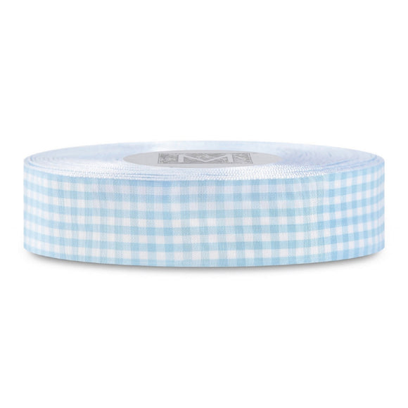 White/Blue Gingham Taffeta Ribbon 1
