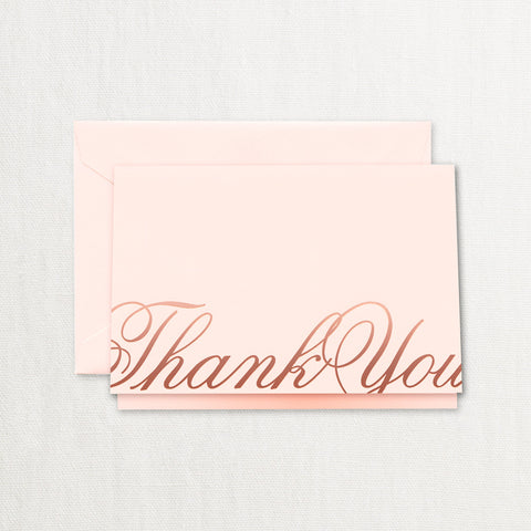 Copper Foil Script Thank You Notes