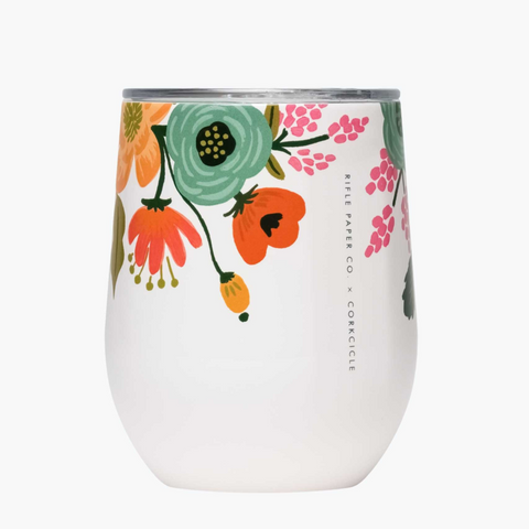Corkcicle x Rifle Paper Stemless Wine Glass - 12oz. Cream Lively Floral