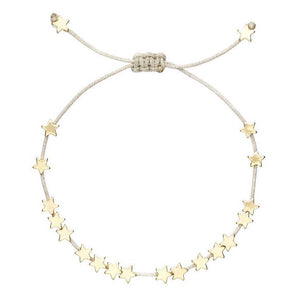 Stars So Bright Gold Bracelet with Silver Cord