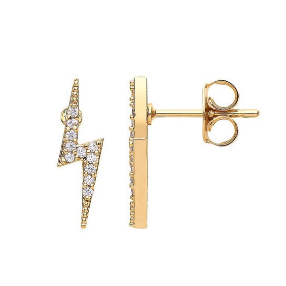 Lightning Bolt CZ Earrings - Gold Plated